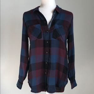 NEW Lucky Brand Blue & Red Flannel Button Down Top